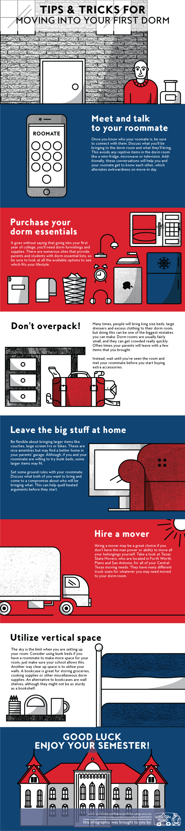 Moving into your First Dorm Infographic